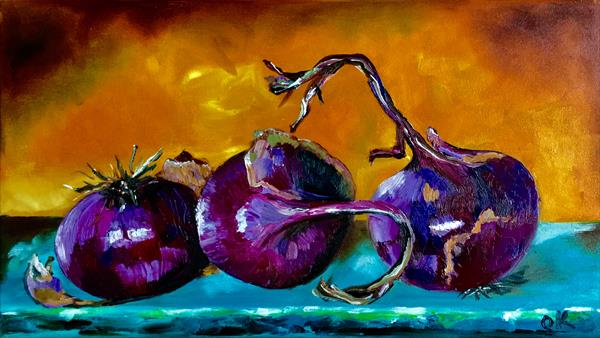 Still life with red onions by Olga  Koval
