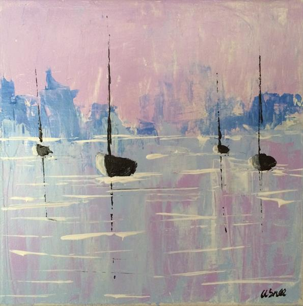 Boats in tranquil harbour  by Andrew Snee