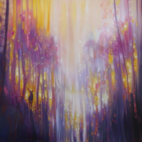Fabian Waits - semi abstract landscape in yellow and purple by Gill Bustamante