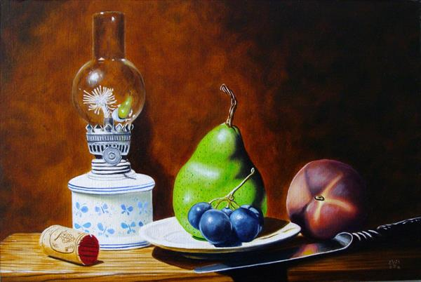 Still life with oil lamp and fruits by Jean-pierre Walter