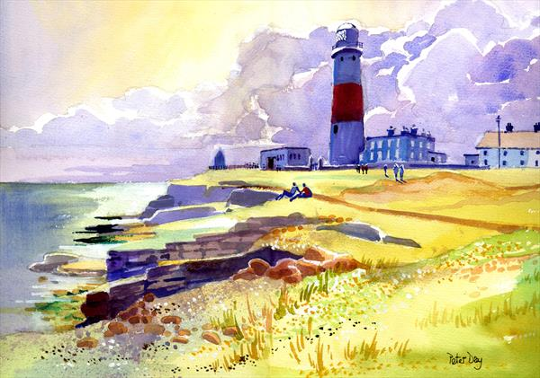 Portland Bill Lighthouse. Cliffs, Sky and Sea by Peter Day