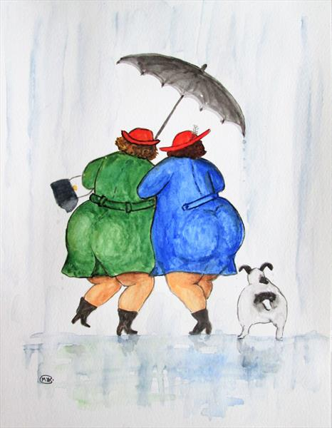 Swinging in the rain, best friends by Marjan's Art