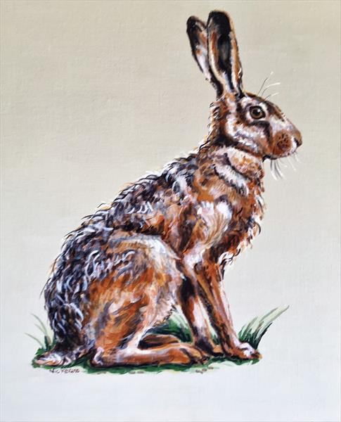 Startled Hare by nicola kevane