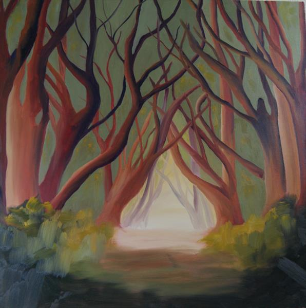 Silence - Treescape (Very Large Square Painting) by M. Sime by Marjory Sime
