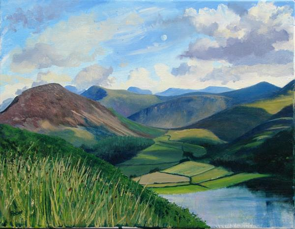 Loweswater moonrise, plein air oil sketch by Peter Brook