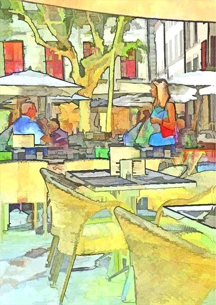 The French Cafe, Uzes by David Guy