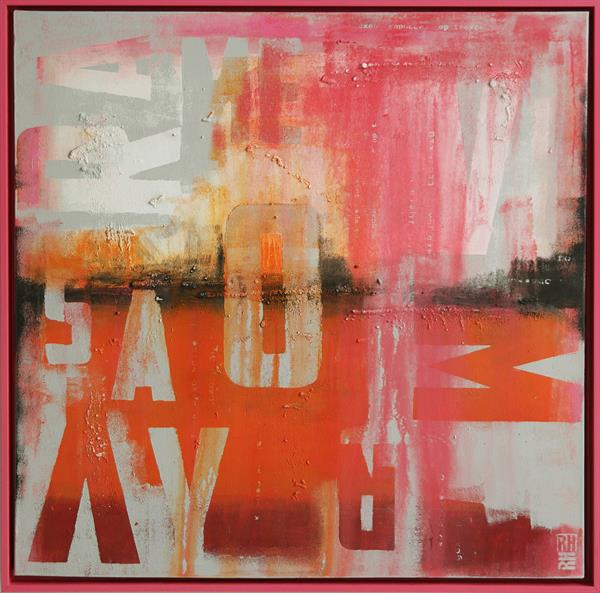Abstract Painting - Pink & Orange Typography - C30