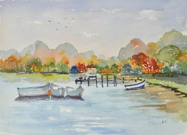 Three boats at Kennebunkport, Maine USA by Brian Tucker