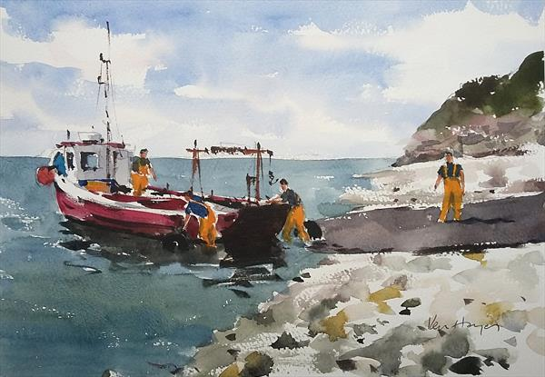 Launching from Flamborough by Ken  Hayes