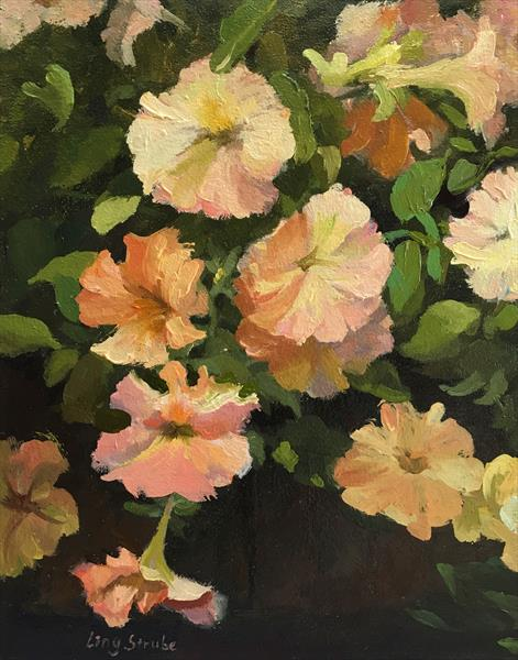Petunias (frame) by Ling Strube