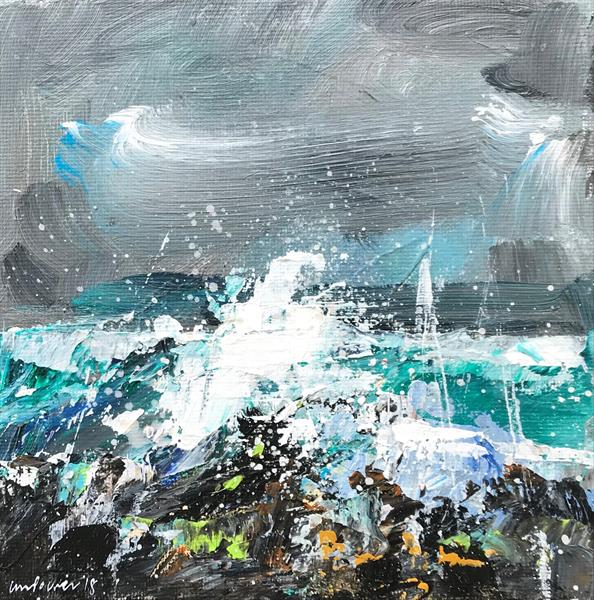 'Sea Spray' - 15cm x 15cm Framed Seascape by Luci Power