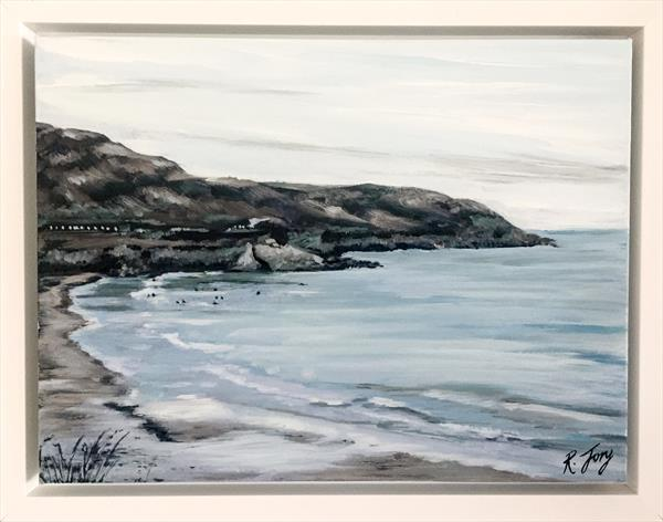 Surfers at Caswell Bay by Rebecca Jory