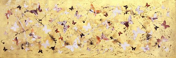 Golden dance (butterfly collage) on display at the Art Gallery, Tetbury by Paresh Nrshinga