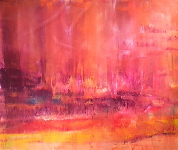 Magic of the spring rain - XXL abstract landscape by Ivana Olbricht