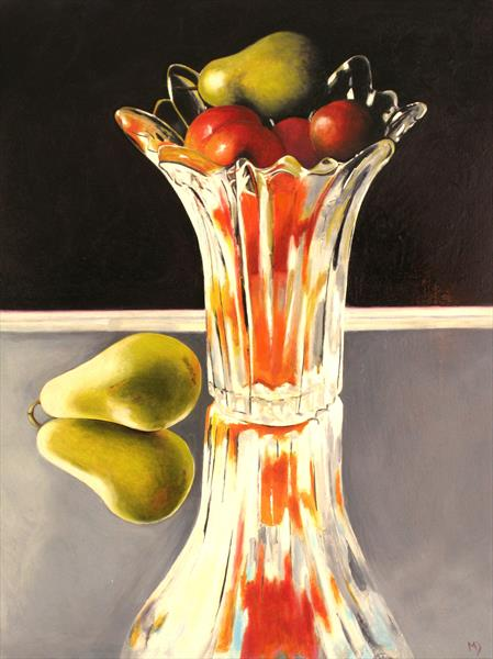Glass vase with fruit by Martin Davis