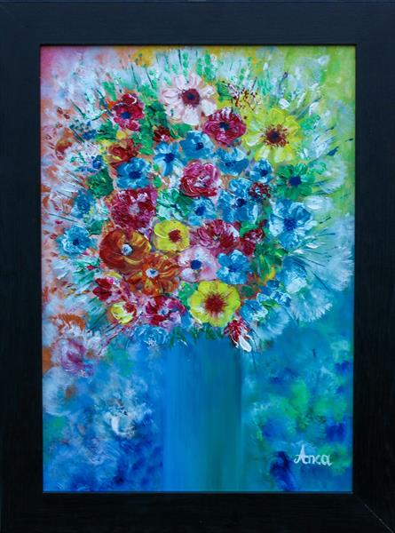 Flower painting, floral wall art by Florentina(anca)  popescu
