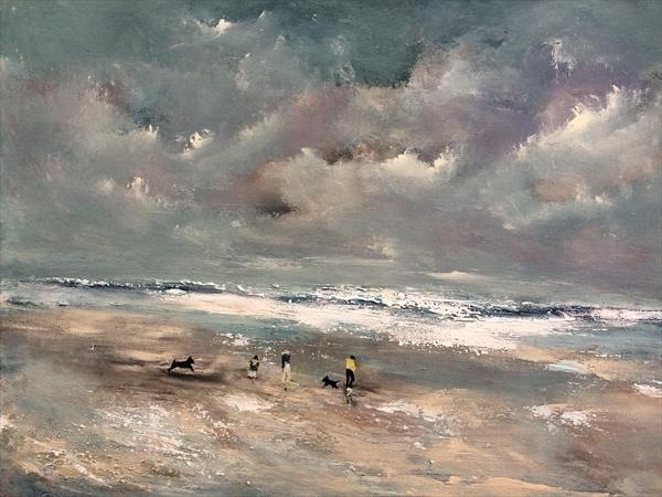 Seascape~ The Shell Seekers  by Maxine Martin