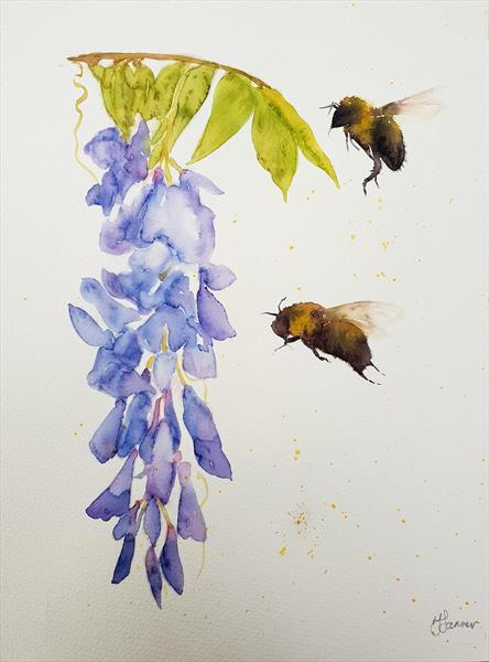 Bumble Bees Wisteria by Teresa Tanner