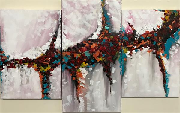 Passion Abstract Paintings (3 Piece Set) by  Rizna  Munsif