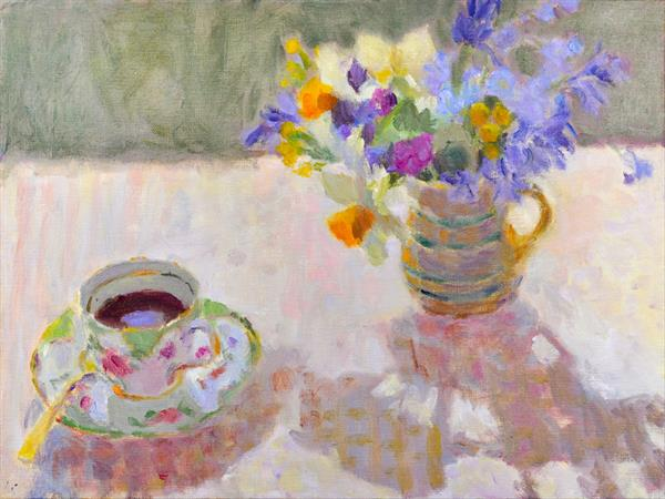 "Giclee Reproduction of ""Coffee and Spring Flowers"" by Lynne Cartlidge"