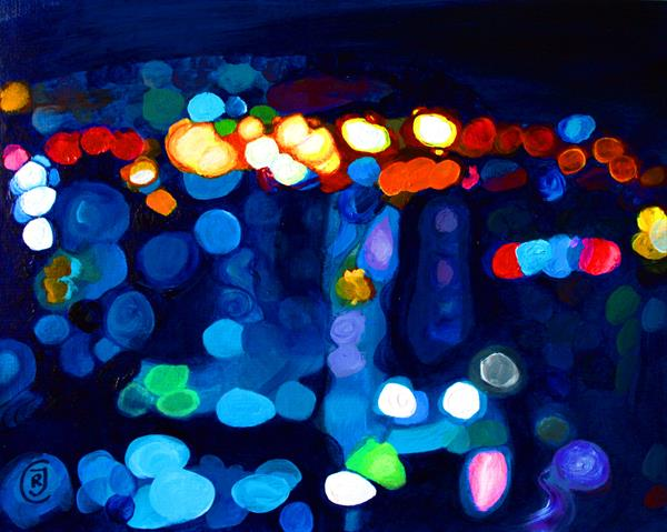 Bubbles I, abstract blue painting in bokeh technique by Rhia J Cooper