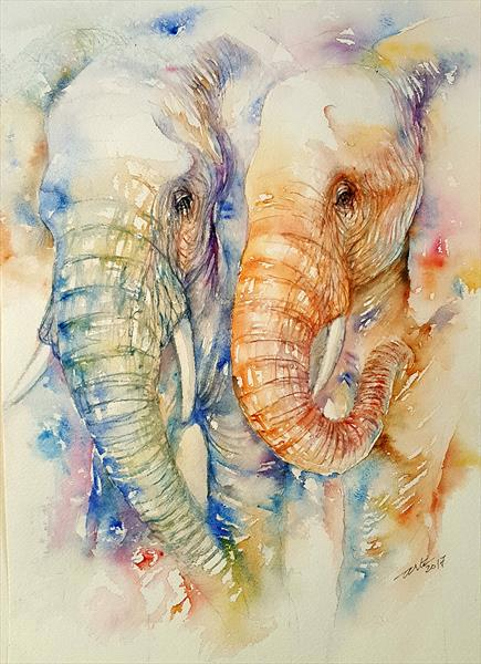 Stay close Elephant Couple by Arti Chauhan