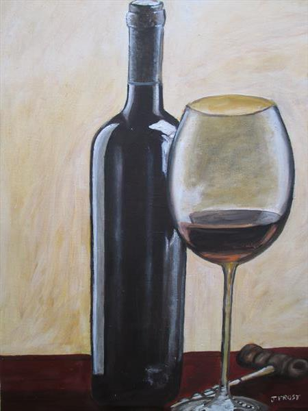 A BOTTLE OF RED WINE WITH GLASS AND CORKSCREW by Justin Frost