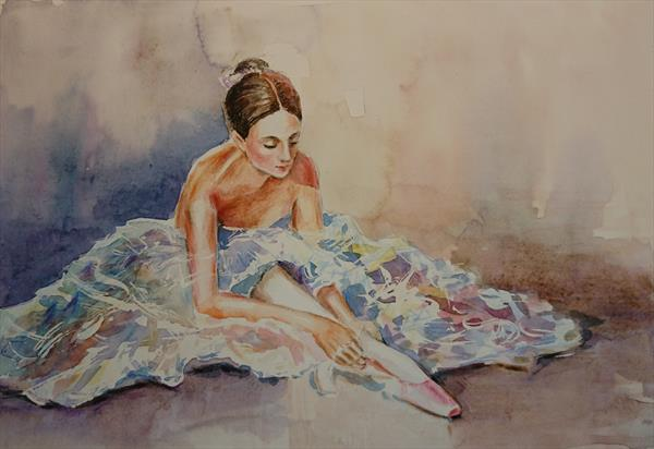 Ballet dancer & pink ballet shoes light shade Winsor & Newton Professional watercolour A3 by Elena Haines