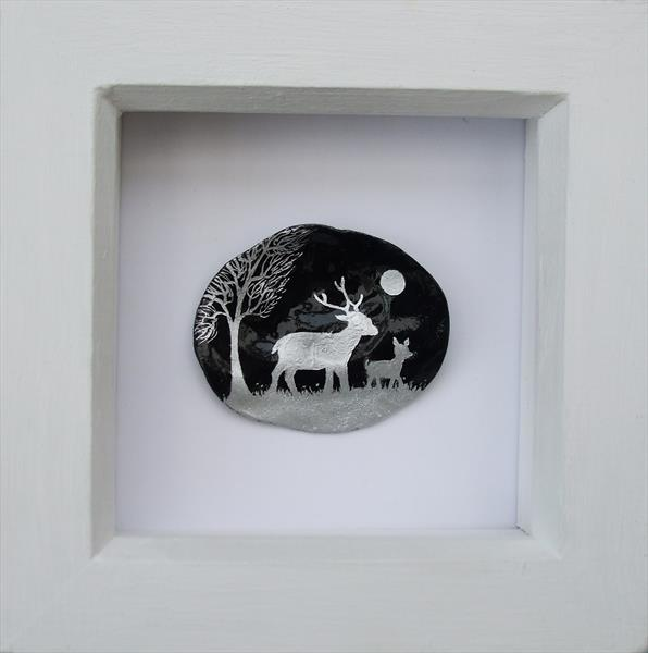 Deer Painting on Shell (Framed) by Claudine Peronne