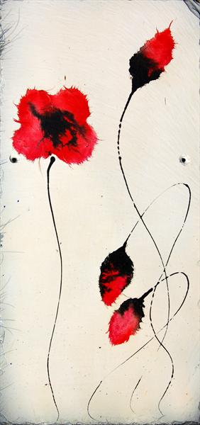 Red Poppies On Slate