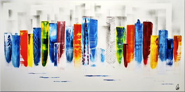 Exciting New York - XLL abstract acrylic painting Skyline painting canvas wall art rainbow colors by Edelgard Schroer