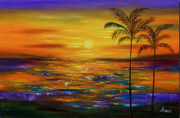 Seascape painting, modern painting on canvas by Florentina(anca)  popescu