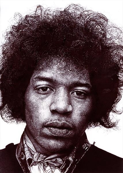 Jimi Hendrix in Black biro.  by Ruth Bilham