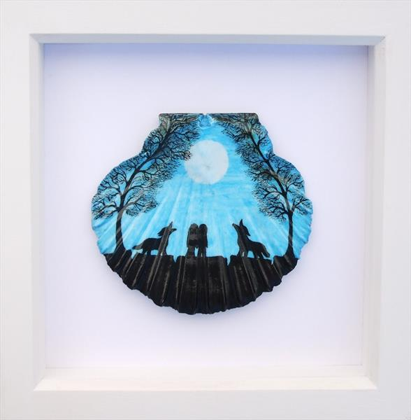 Soul Mates and Wolves - Framed Shell by Claudine Peronne