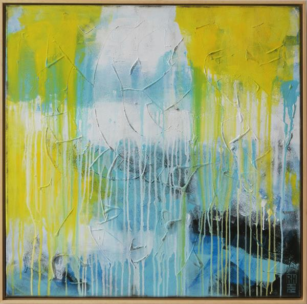 BLUE & YELLOW SPLASHES - K49 by Ronald Hunter