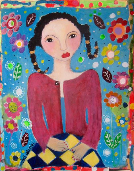 a girl in a patchwork skirt... by Isabel Adonis