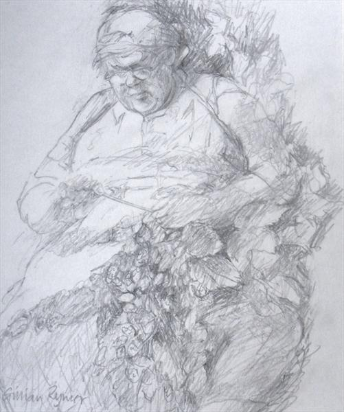 Female Hop Picker With Scarf by Gillian Rymer
