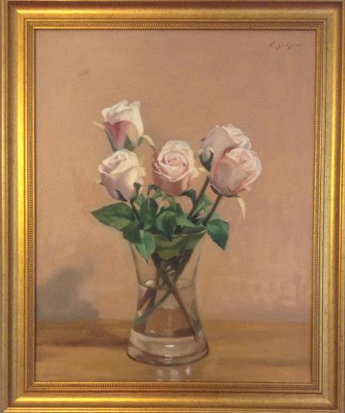 Pale Pink Roses ( framed original ) by Christopher Gill