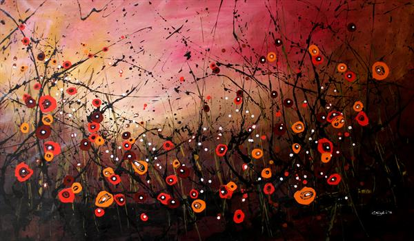 Autumn Melodies #2 - Large original floral painting by Cecilia Frigati