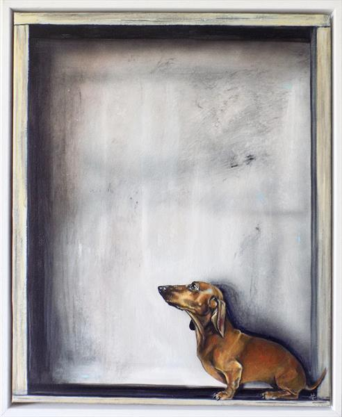 On the Ledge: dachshund painting by Victoria Coleman