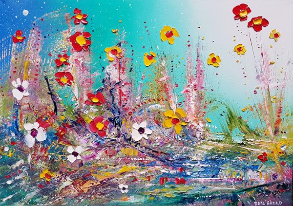 """Abstract Meadow Flowers in Love"""
