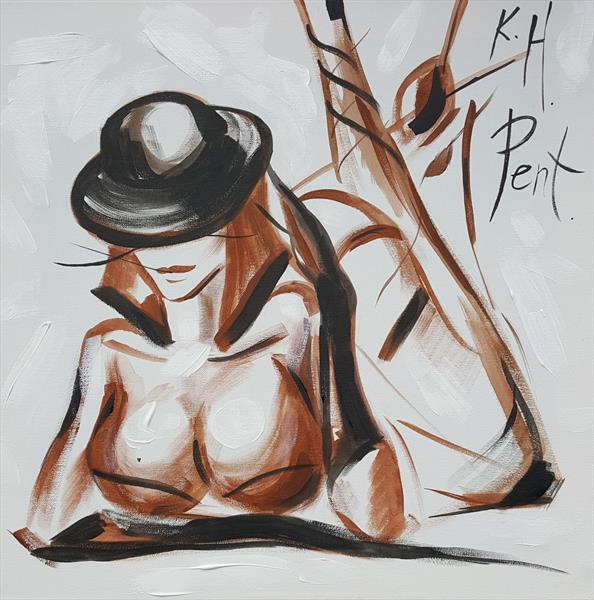 Nude 'Little Black Hat Thinking' by Kat  Herrgott-Penter