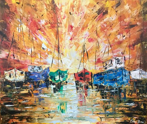 Sunset boats by Pippa Buist