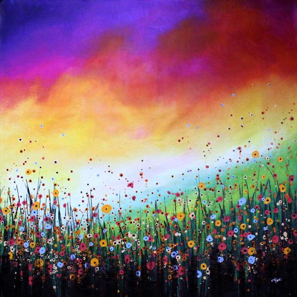Wonderland - Extra Large original abstract landscape by Cecilia Frigati