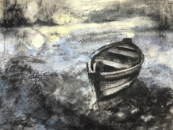 Moonlight On The River Charcoal Drawing  by Alena Rumak