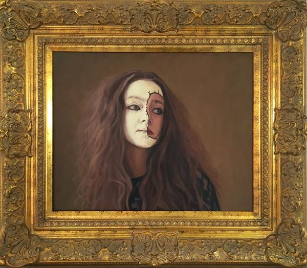 Girl with the painted face - original oil painting  by Christopher Gill
