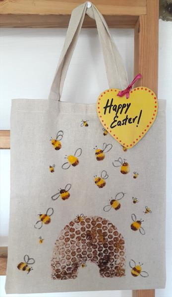 Bumble Bees & Hive Shopping bag by Teresa Tanner
