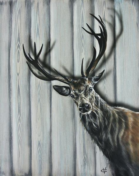 The Visitor: Stag painting by Victoria Coleman