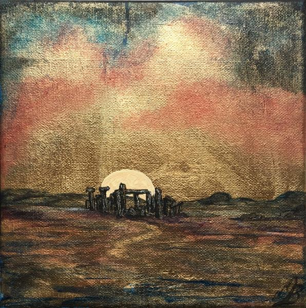 Stone Henge at sunrise in gold leaf by Marja Brown