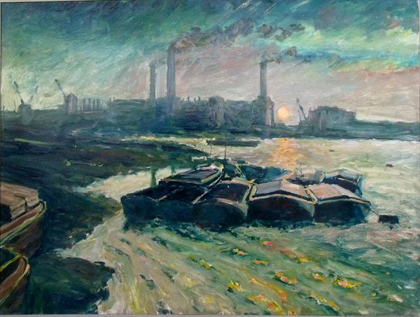 Barges On Thames by Peter King
